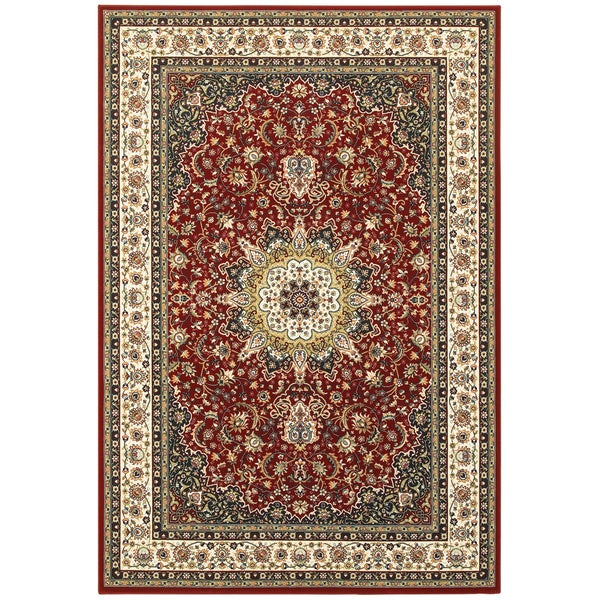 Gracewood Hollow Stora Red/Ivory Classic Medallion Area Rug - 5'3 x 7'6