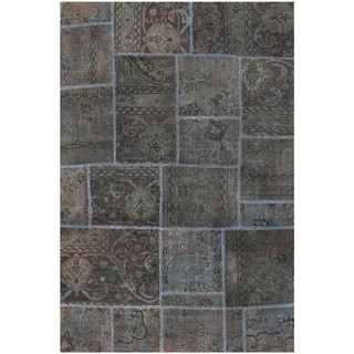 Herat Oriental Pak Persian Hand-knotted Patchwork Wool Rug (3'9 x 5'8)