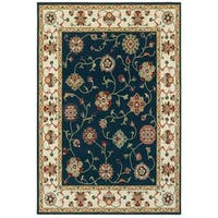 Style Haven Timeless Borders Navy/Ivory Area Rug - 5'3 x 7'6
