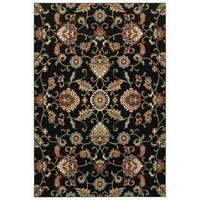 Laurel Creek Wesley Oriental Black/ Multicolor Area Rug - 5'3 x 7'6