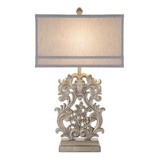 Catalina Vera Rectangular Wood-inspired Ornate Table Lamp