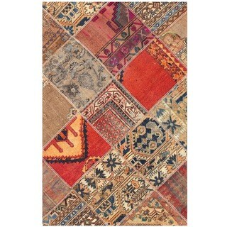 Herat Oriental Pak Persian Hand-knotted Patchwork Wool Rug (3'9 x 5'10)