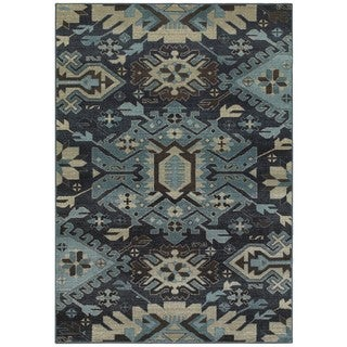 Tribal Blues Navy/Blue Area Rug (6'7 x 9'6)