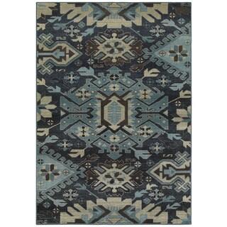 "Tribal Blues Navy/Blue Area Rug (6'7 x 9'6) - 6'7"" x 9'6"""
