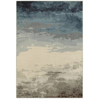 Style Haven Into the Night Abstract Blue/Beige Area Rug (6'7 x 9'6)