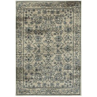 Style Haven Faded Traditions Beige/Navy Area Rug (6'7 x 9'6)