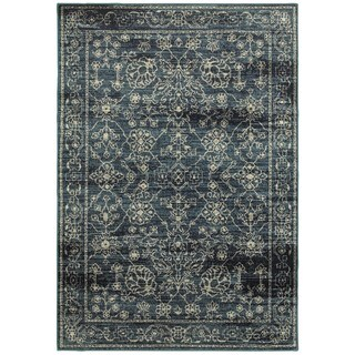 Style Haven Faded Traditions Navy/Beige Polypropylene Area Rug (6'7 x 9'6)