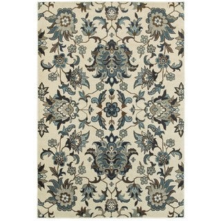 Style Haven Arcadian Flowers Ivory/Blue Area Rug (6'7 x 9'6)