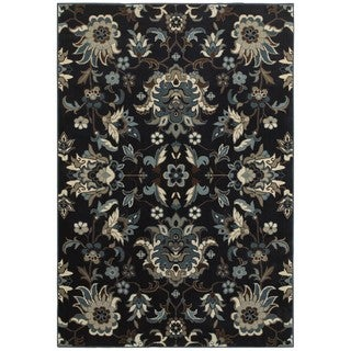 Style Haven Arcadian Flowers Navy/Blue Area Rug (6'7 x 9'6)
