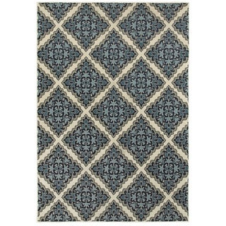 Style Haven Garden Labyrinth Ivory/Blue Area Rug (5'3 x 7'6)