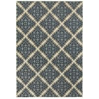 Style Haven Garden Labyrinth Ivory/Blue Area Rug - 5'3 x 7'6