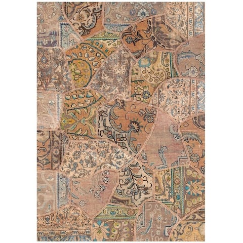 Handmade One-of-a-Kind Patchwork Wool Rug (Pakistan) - 4' x 5'9