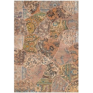 Herat Oriental Pak Persian Hand-knotted Patchwork Wool Rug (4' x 5'9)