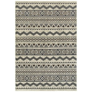 Style Haven Tribal Lines Grey/Blue Area Rug (6'7 x 9'6)