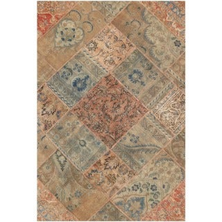 Herat Oriental Pak Persian Hand-knotted Patchwork Wool Rug (4'1 x 6'2)