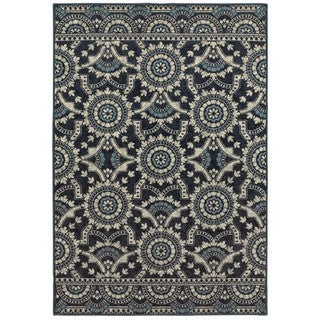 Style Haven Garden Trellis Navy/Grey Area Rug (6'7 x 9'6)