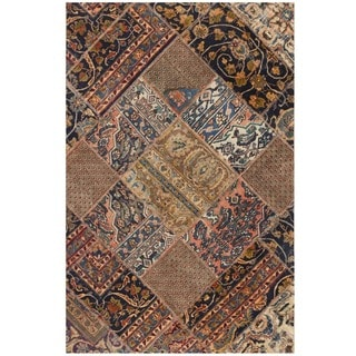 Herat Oriental Pak Persian Hand-knotted Patchwork Wool Rug (4'2 x 6'4)