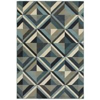Style Haven Geometrico Blue/Grey Area Rug - 6'7 x 9'6