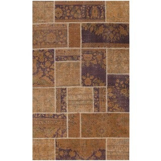 Herat Oriental Pak Persian Hand-knotted Patchwork Wool Rug (3'10 x 6'5)