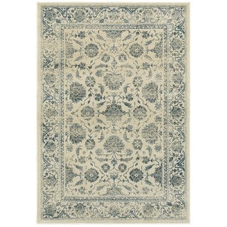 Style Haven Faded Garden Ivory/Blue Polypropylene Area Rug (5'3 x 7'6)