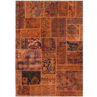 Herat Oriental Pak Persian Hand-knotted Patchwork Wool Rug (3'4 x 4'9)