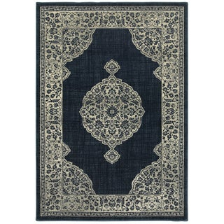 "Stsyle Haven Majestic Medallion Navy/Grey Area Rug (5'3 x 7'6) - 5'3"" x 7'6"""