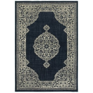 Majestic Medallion Navy/Grey Area Rug (6'7 x 9'6)