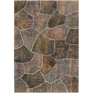 Herat Oriental Pak Persian Hand-knotted Patchwork Wool Rug (4' x 5'8)