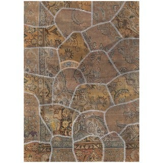 Herat Oriental Pak Persian Hand-knotted Patchwork Wool Rug (4'1 x 5'9)