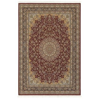Style Haven Baroque Medallion Red/Multicolor Fringed Area Rug (5'3 x 7'6)