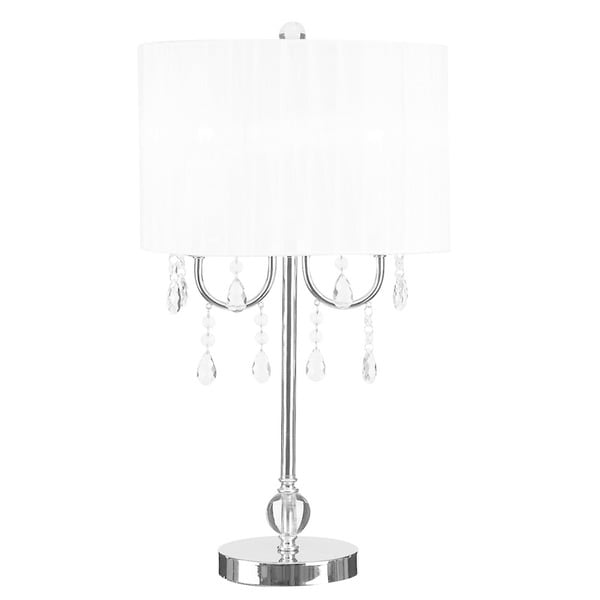 Catalina Glam White and Chrome Chandelier-style Crystal Accent Table Lamp - 13 x 13 x 23