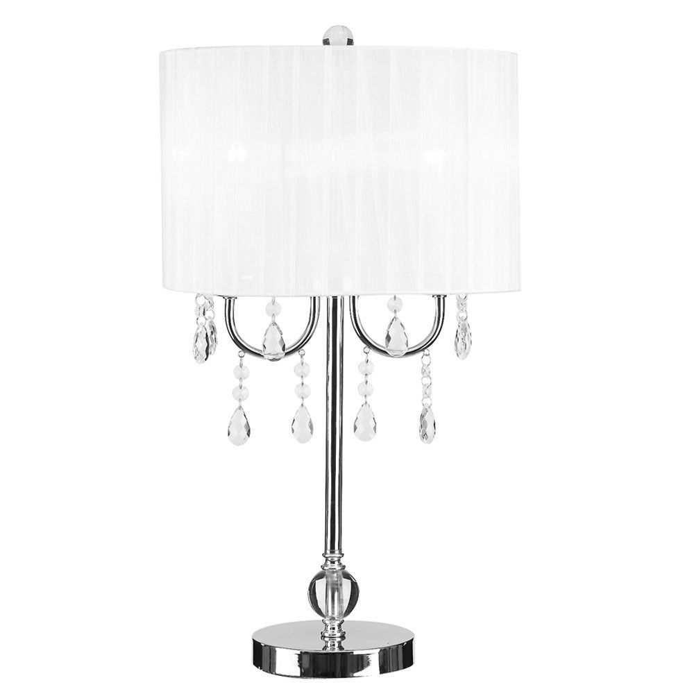 Silver Orchid Bambrick Glam White and Chrome Chandelier-style Crystal Accent Table Lamp