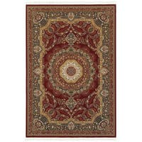 Style Haven Regal Center Medallion Red/Multi Fringe Area Rug (5'3 x 7'6)