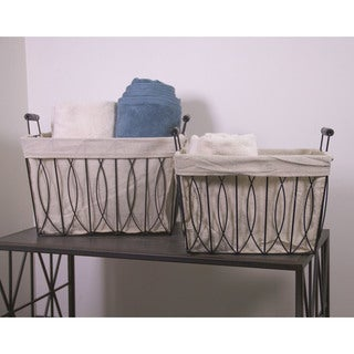 Ayan Metal Rectangular 2-Piece Basket with Liner