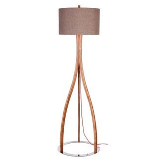 Catalina Preston Natural Dark Wood Chrome Base Floor Lamp