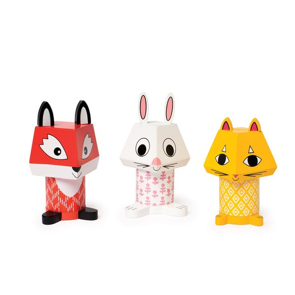 Manhattan Toy Mix and Match Fox, Bunny, and Cat Magnetic Stacker Blocks
