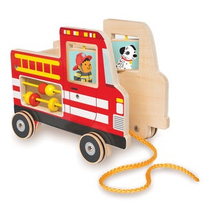 Manhattan Toy Multicolor Wood Fire Truck Pull Toy