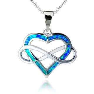 Sterling Silver Created Opal Infinity Open Heart Pendant Necklace