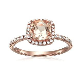 10k Rose Gold Morganite and 1/3ct TDW Diamond Cushion Engagement Ring (H-I, I1-I2)