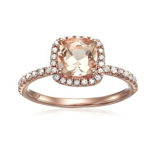 Pinctore 10k Rose Gold Morganite and 1/3ct TDW Diamond Cushion Engagement Ring (H-I, I1-I2)