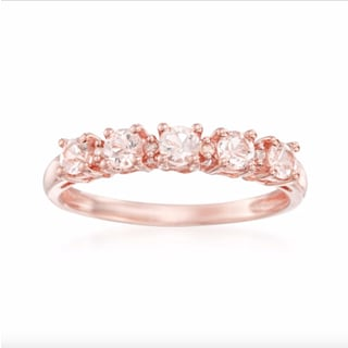10k Rose Gold Morganite and Diamond Accent Stackable Ring (H-I, I1-I2)