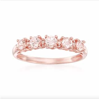 10k rose gold morganite and diamond accent stackable ring h i i1 i2 - Morganite Wedding Ring
