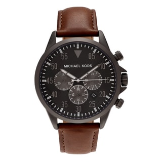 Michael Kors Men's MK8536 'Gage' Gunmetal Tone Stainless Steel Chronograph Dial Leather Strap Watch