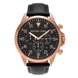 Michael Kors Men's MK8535 'Gage' Rose Goldtone Stainless Steel Chronograph Black Leather Strap Watch