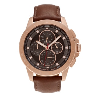 Michael Kors Men's MK8519 'Ryker' Rose Goldtone Stainless Steel Tachymeter Chronograph Dial Leather Strap Watch