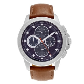 Michael Kors Men's MK8518 'Ryker' Stainless Steel Tachymeter Blue Chronograph Dial Leather Strap Watch