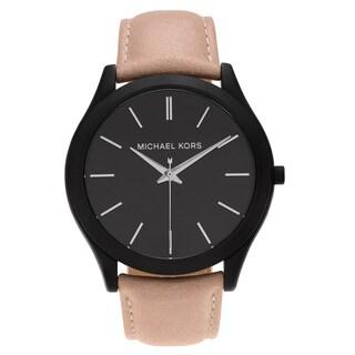 Michael Kors Men's MK8510 'Runway' Black-plated Stainless Steel Black Dial Beige Leather Strap Watch