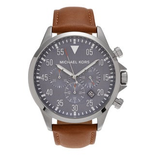 Michael Kors Men's MK8490 'Gage' Stainless Steel Blue Chronograph Dial Leather Strap Watch