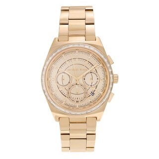 Michael Kors Women's 'Vail' MK6421 Goldtone Stainless Steel Crystal Pave Chronograph Dial Link Bracelet Watch