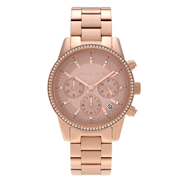 8e5e46ef97cc Shop Michael Kors Women s MK6357  Ritz  Rose Goldtone Crystal Pave ...